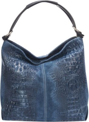 Lisa Minardi Croc-Embossed Leather Hobo Blue - Lisa Minardi Leather Handbags
