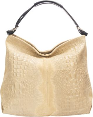 Lisa Minardi Croc-Embossed Leather Hobo Taupe - Lisa Minardi Leather Handbags