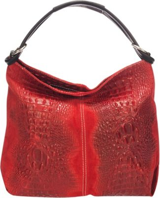 Lisa Minardi Croc-Embossed Leather Hobo Red - Lisa Minardi Leather Handbags
