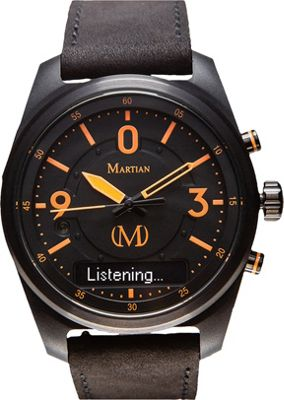 Martian Watches Martian PTL 01 Smartwatch Black Dial / Black Case / Black Leather Strap - Martian Watches Wearable Technology