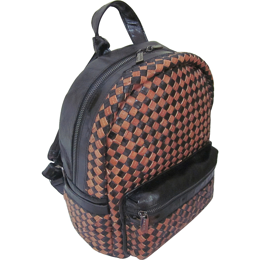AmeriLeather Berne Leather Backpack Black/Brown - AmeriLeather Leather Handbags - Handbags, Leather Handbags