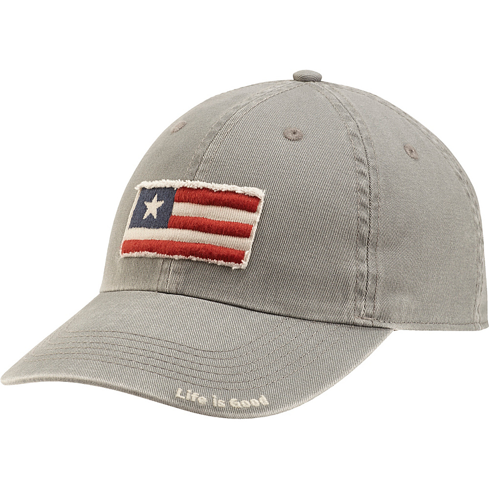 Life is good Tattered Chill Cap 3 Stripe Flag One Size - Slate Gray - Life is good Hats - Fashion Accessories, Hats