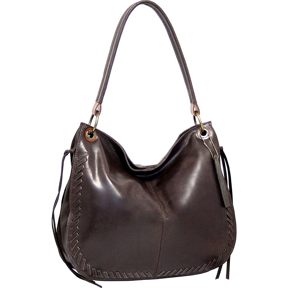 Nino Bossi Kaylee Leather Hobo Chocolate - Nino Bossi Leather Handbags - Handbags, Leather Handbags