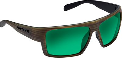 Native Eyewear Eldo Sunglasses Wood/Matte Black with Polarized Green Reflex - Native Eyewear Eyewear