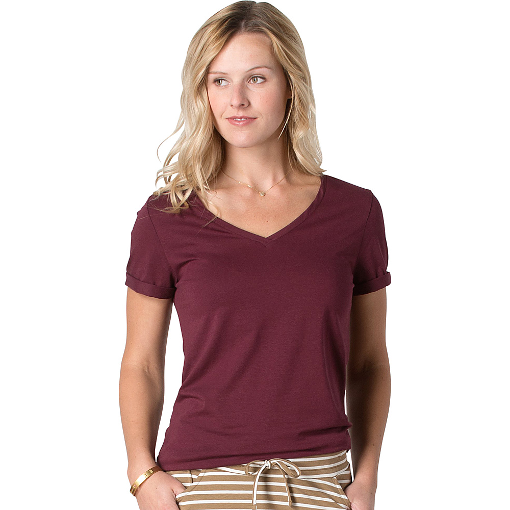 Toad & Co Ventana Short Sleeve Tee S - Sangria - Toad & Co Womens Apparel - Apparel & Footwear, Women's Apparel
