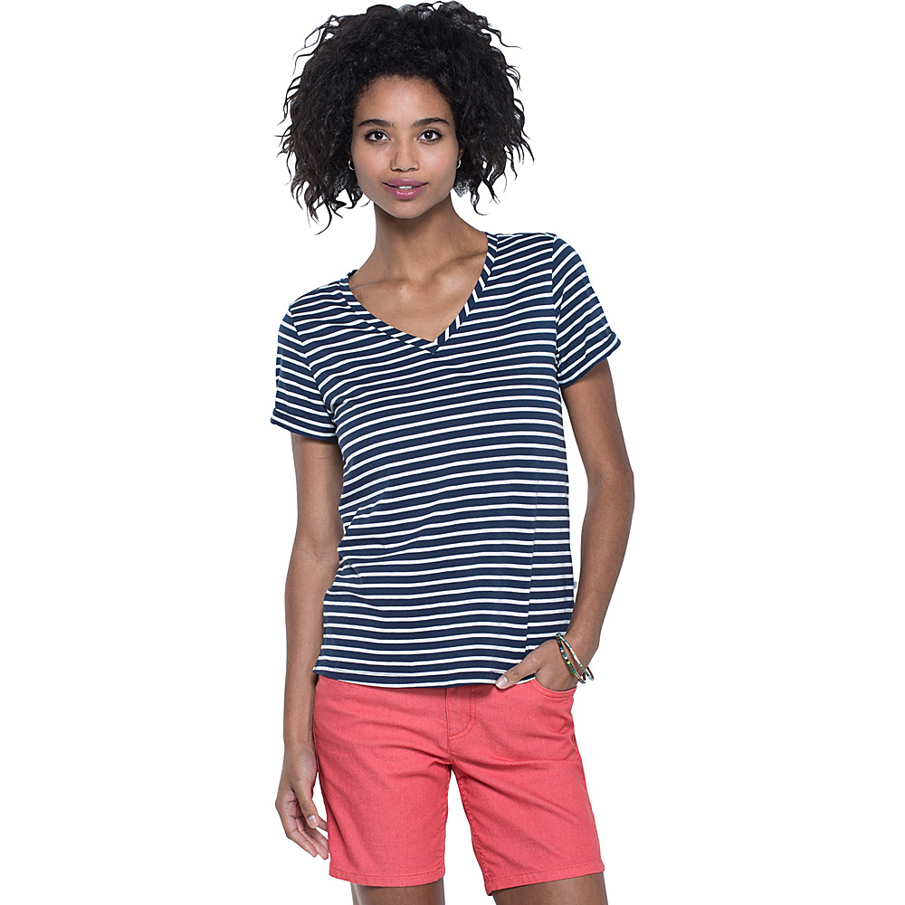 Toad & Co Ventana Short Sleeve Tee S - Deep Navy Balanced Stripe - Toad & Co Womens Apparel - Apparel & Footwear, Women's Apparel