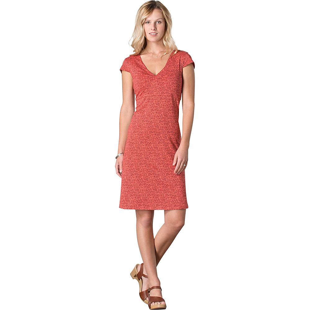 Toad & Co Rosemarie Dress M - Spiced Coral Geo Print - Toad & Co Womens Apparel - Apparel & Footwear, Women's Apparel