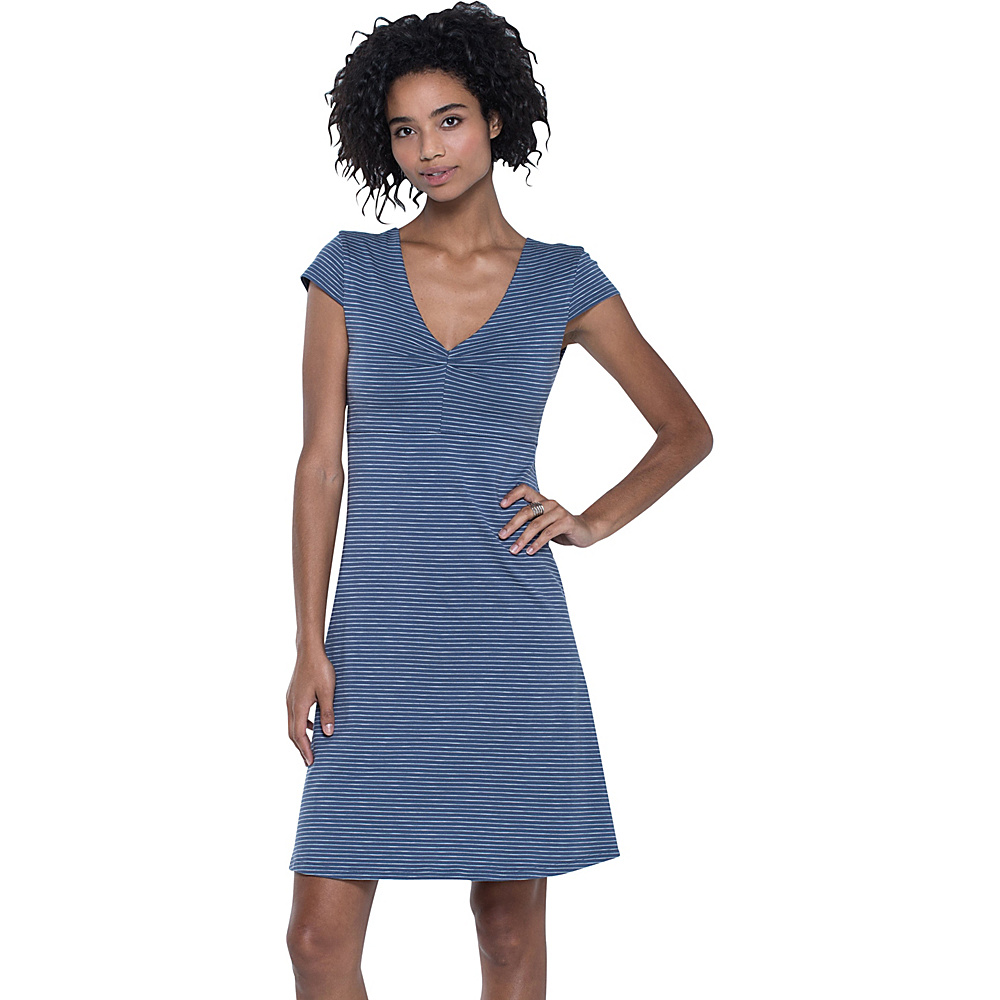 Toad & Co Rosemarie Dress S - Indigo Stripe - Toad & Co Womens Apparel - Apparel & Footwear, Women's Apparel