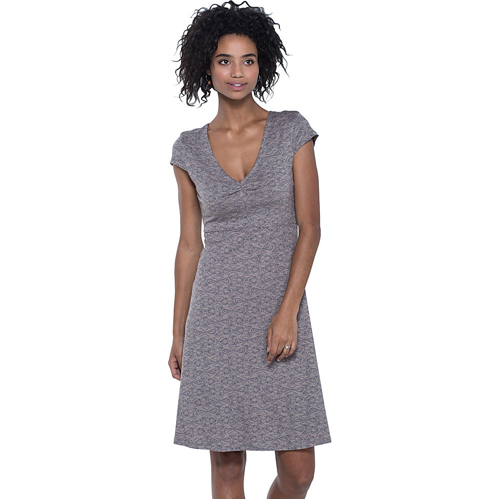 Toad & Co Rosemarie Dress XS - Cocoa Quito Line Print - Toad & Co Womens Apparel - Apparel & Footwear, Women's Apparel