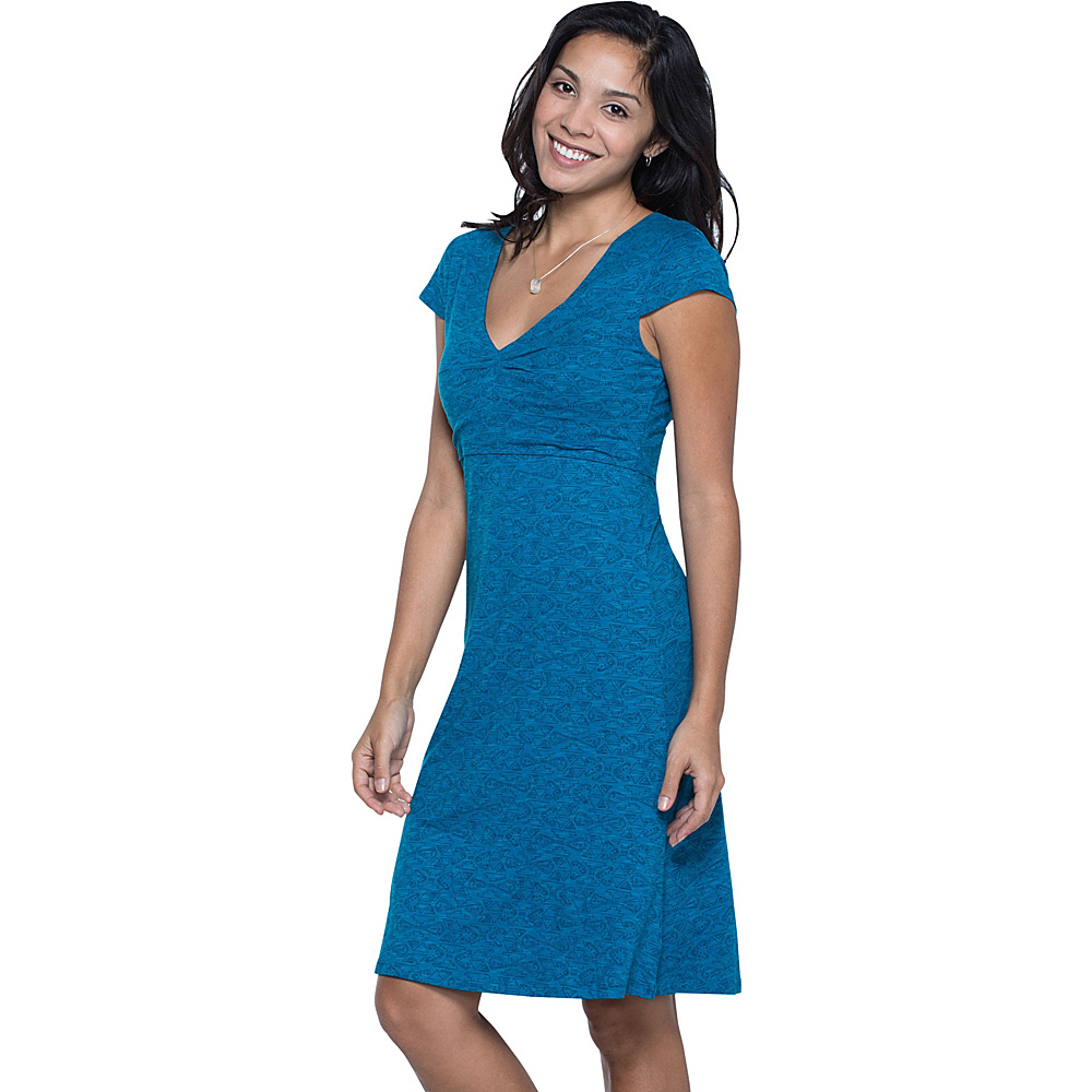 Toad & Co Rosemarie Dress XL - Seaport Quito Line Print - Toad & Co Womens Apparel - Apparel & Footwear, Women's Apparel