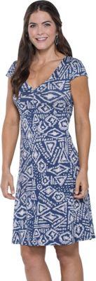 Toad & Co Rosemarie Dress S - Indigo Brush Print - Toad & Co Women's Apparel