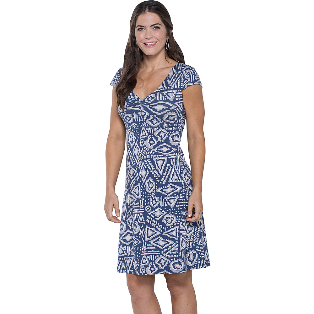 Toad & Co Rosemarie Dress S - Indigo Brush Print - Toad & Co Womens Apparel - Apparel & Footwear, Women's Apparel