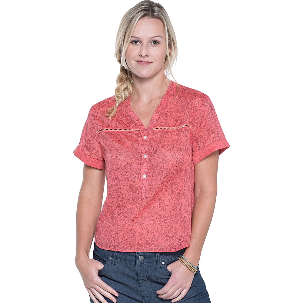 Toad & Co Airbrush Pullover Shirt S - Spiced Coral Galapagos Print - Toad & Co Womens Apparel - Apparel & Footwear, Women's Apparel