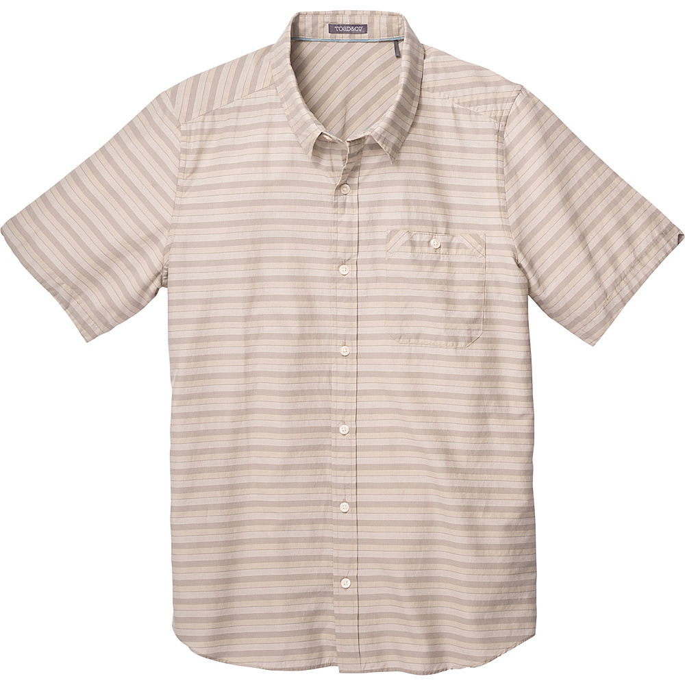 Toad & Co Wonderer Short Sleeve Shirt S - Sawdust - Toad & Co Mens Apparel - Apparel & Footwear, Men's Apparel