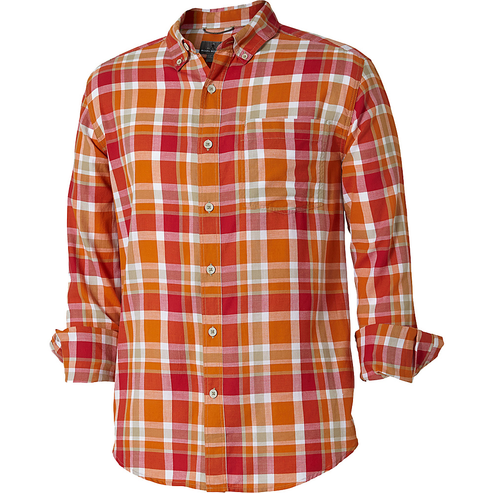 Royal Robbins Mens Painted Canyon Plaid Long Sleeve Shirt XXL - Marmalade - Royal Robbins Mens Apparel - Apparel & Footwear, Men's Apparel