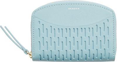 Skagen Leather Zipper Coin Wallet Sky Blue - Skagen Women's Wallets