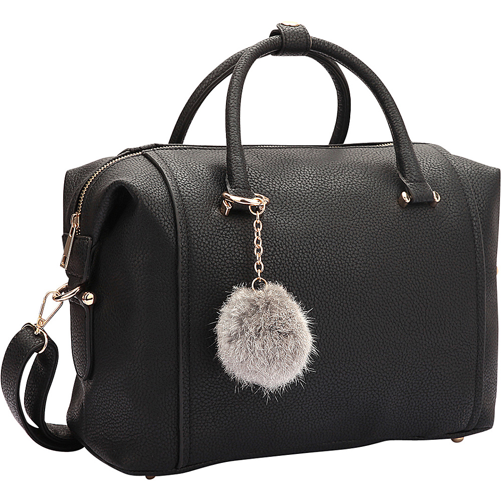 Dasein Faux Leather Satchel with PomPom Black - Dasein Manmade Handbags - Handbags, Manmade Handbags