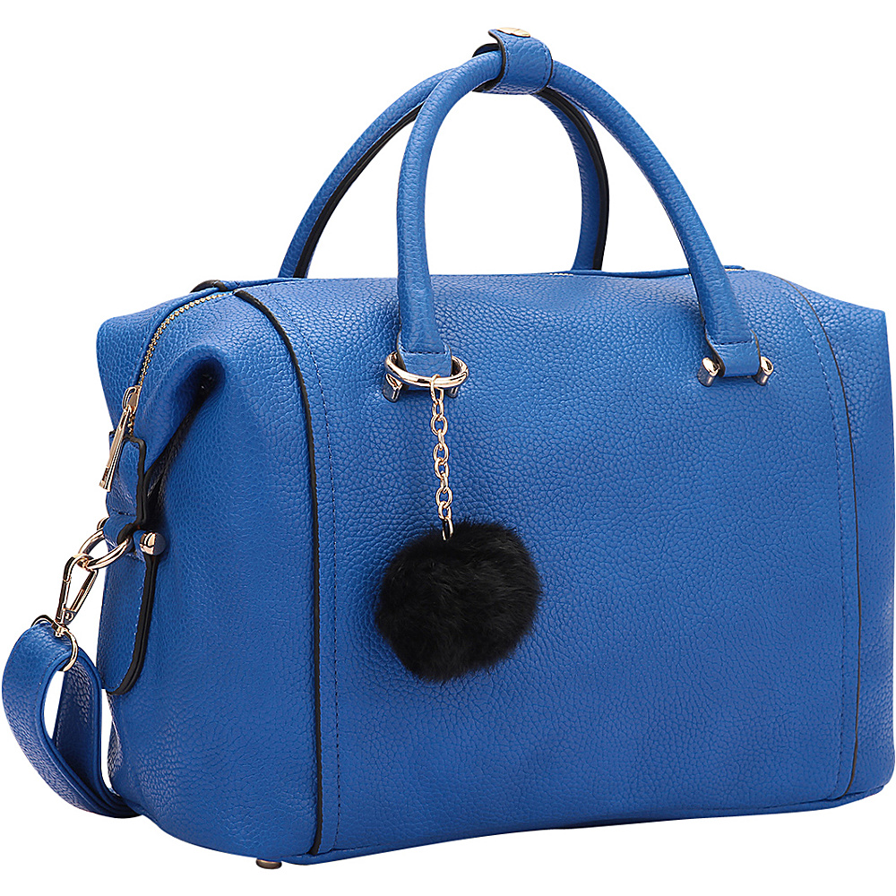 Dasein Faux Leather Satchel with PomPom Blue - Dasein Manmade Handbags - Handbags, Manmade Handbags