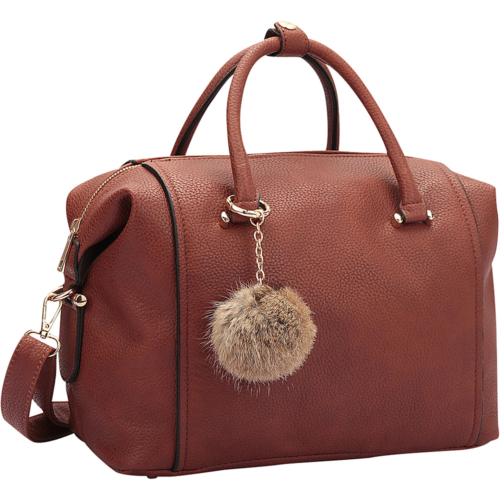 Dasein Faux Leather Satchel with PomPom Brown - Dasein Manmade Handbags - Handbags, Manmade Handbags