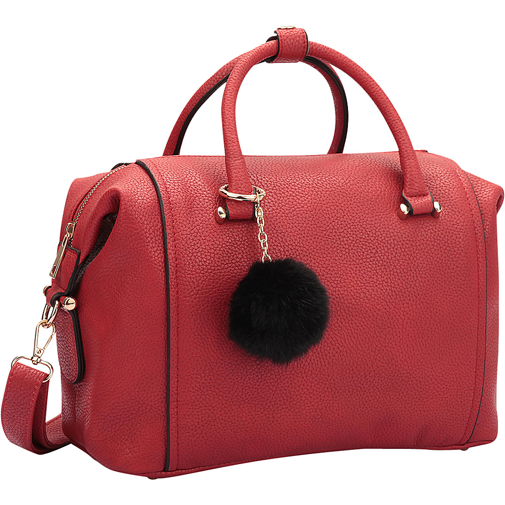 Dasein Faux Leather Satchel with PomPom Red - Dasein Manmade Handbags - Handbags, Manmade Handbags