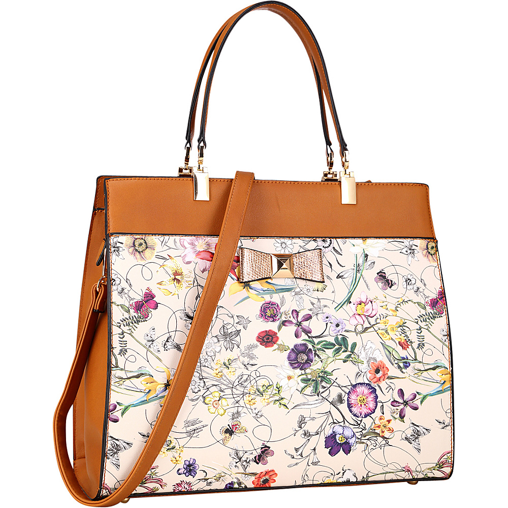 Dasein Faux Leather Satchel with Flowery Design and Gold Accent Bow Off White Flower - Dasein Manmade Handbags - Handbags, Manmade Handbags