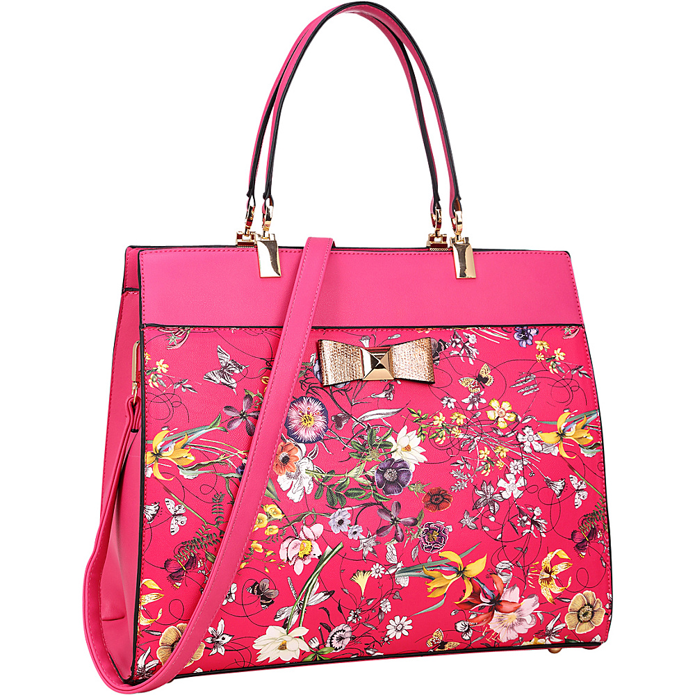 Dasein Faux Leather Satchel with Flowery Design and Gold Accent Bow Fuchsia - Dasein Manmade Handbags - Handbags, Manmade Handbags