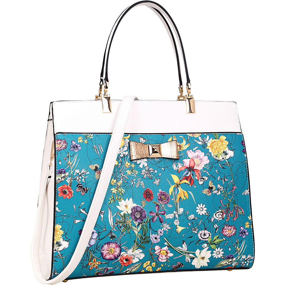 Dasein Faux Leather Satchel with Flowery Design and Gold Accent Bow Blue - Dasein Manmade Handbags - Handbags, Manmade Handbags