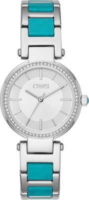 Chaps Alanis Stainless-Steel and Turquoise Acetate Three-Hand Watch Silver/Turquoise - Chaps Watches