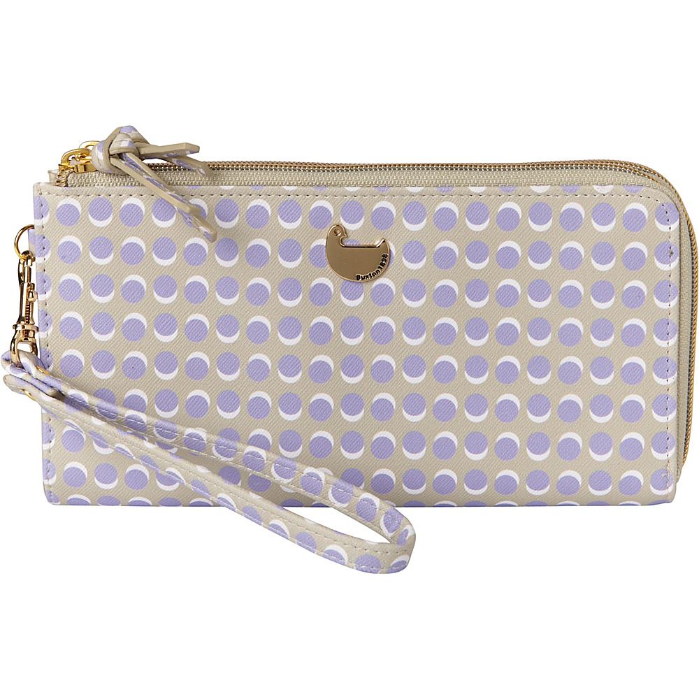 Buxton Dotty Dots Double L-Zip Wallet Wisteria - Buxton Womens Wallets - Women's SLG, Women's Wallets