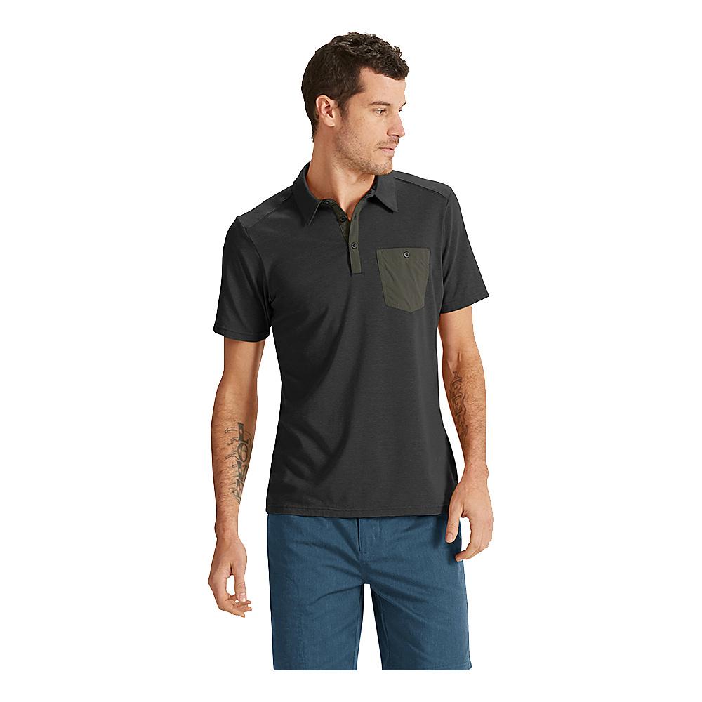 NAU Clothing Mens Short Sleeve Wander Polo S - Caviar - NAU Clothing Mens Apparel - Apparel & Footwear, Men's Apparel