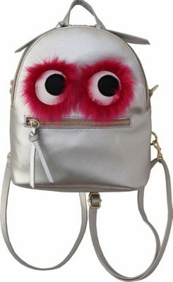 T-shirt & Jeans Faux Fur Monster Backpack Silver - T-shirt & Jeans Leather Handbags
