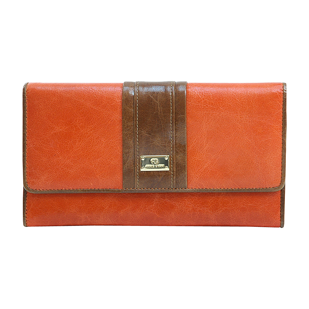 Dasein Womens Classic Color Block Trifold Wallet Orange/Brown - Dasein Womens Wallets - Women's SLG, Women's Wallets