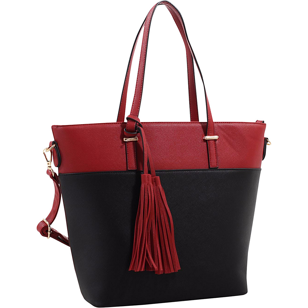 MKF Collection Gabriella Two Toned Tote Red - MKF Collection Manmade Handbags - Handbags, Manmade Handbags
