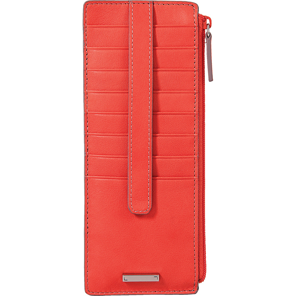 Lodis Mill Valley Under Lock & Key Credit Card Case with Zipper Pocket Coral - Lodis Womens Wallets - Women's SLG, Women's Wallets