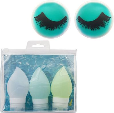 MyTagAlongs Beauty Essential Kit - Travel Bottles and Cooling Eye Pads Blue - MyTagAlongs Travel Comfort and Health