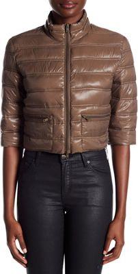 Rolo & Ale Jenn Cropped Puffer Jacket M - Mud - Rolo & Ale Women's Apparel