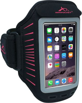 Armpocket Racer, slim armband for iPhone 8/7/6/6s/SE, Galaxy S7/S6, or other devices up to 5.5 inch tall. Medium Strap Length. Black/Pink - Armpocket Electronic Cases