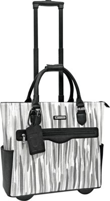 Cabrelli Sylvie Rolling Briefcase Black/White - Cabrelli Wheeled Business Cases