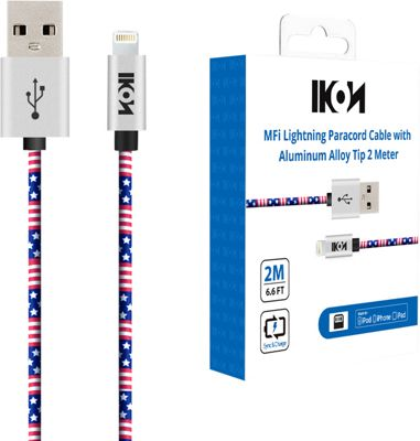 IKON iPhone MFi Lightning Paracord Cable with Aluminum Alloy Tip - 6.6 Feet American Flag - IKON Electronic Accessories