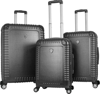 Gabbiano Armor 3 Piece Expandable Hardside Spinner Luggage Set Dark Grey - Gabbiano Luggage Sets