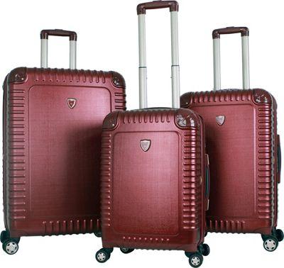 Gabbiano Armor 3 Piece Expandable Hardside Spinner Luggage Set Burgundy - Gabbiano Luggage Sets
