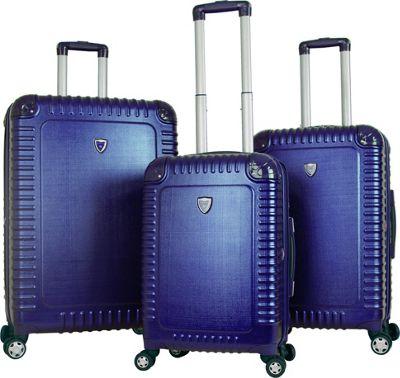 Gabbiano Armor 3 Piece Expandable Hardside Spinner Luggage Set Blue - Gabbiano Luggage Sets