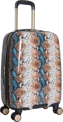 Aimee Kestenberg Aruba 20 inch Hardside Expandable Carry-On Spinner Blue Apricot Snake - Aimee Kestenberg Hardside Carry-On