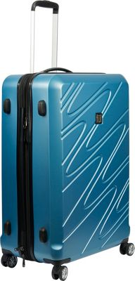 ful Scribble 25 Inch Expandable Checked Hardside Spinner Luggage Carolina Blue - ful Hardside Checked
