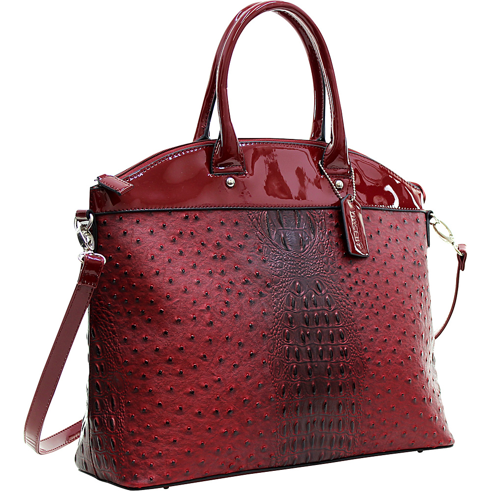 Dasein Ostrich Faux Leather Large Satchel with Patent Trim Red - Dasein Manmade Handbags - Handbags, Manmade Handbags
