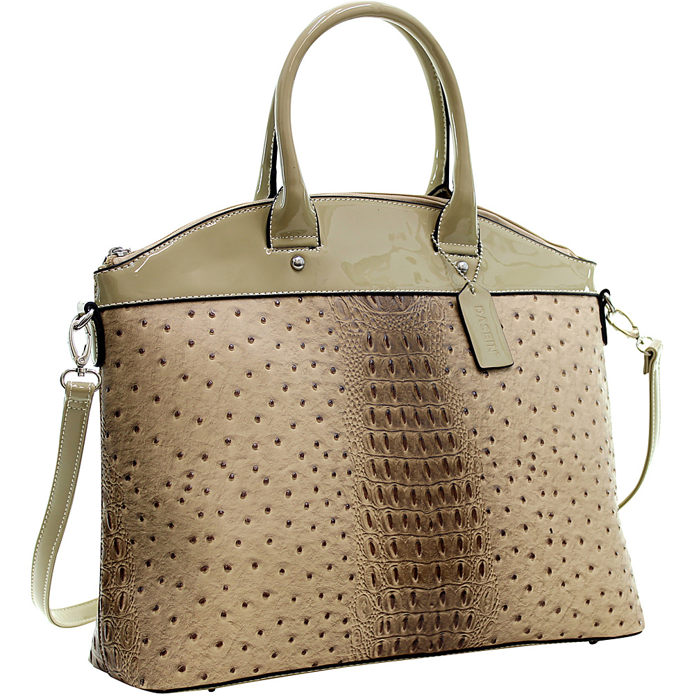 Dasein Ostrich Faux Leather Large Satchel with Patent Trim Tan - Dasein Manmade Handbags - Handbags, Manmade Handbags
