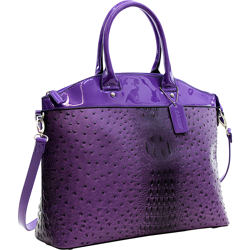 Dasein Ostrich Faux Leather Large Satchel with Patent Trim Purple - Dasein Manmade Handbags - Handbags, Manmade Handbags