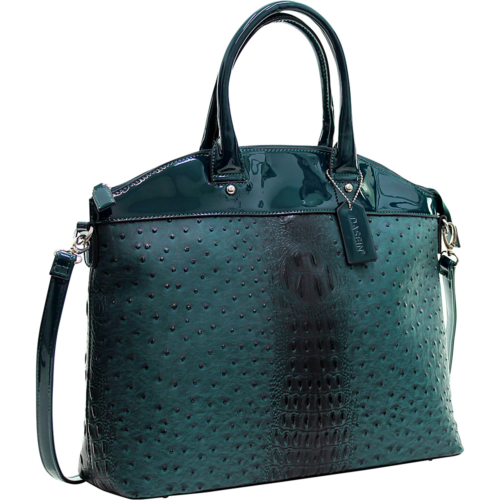 Dasein Ostrich Faux Leather Large Satchel with Patent Trim Deep Green - Dasein Manmade Handbags - Handbags, Manmade Handbags