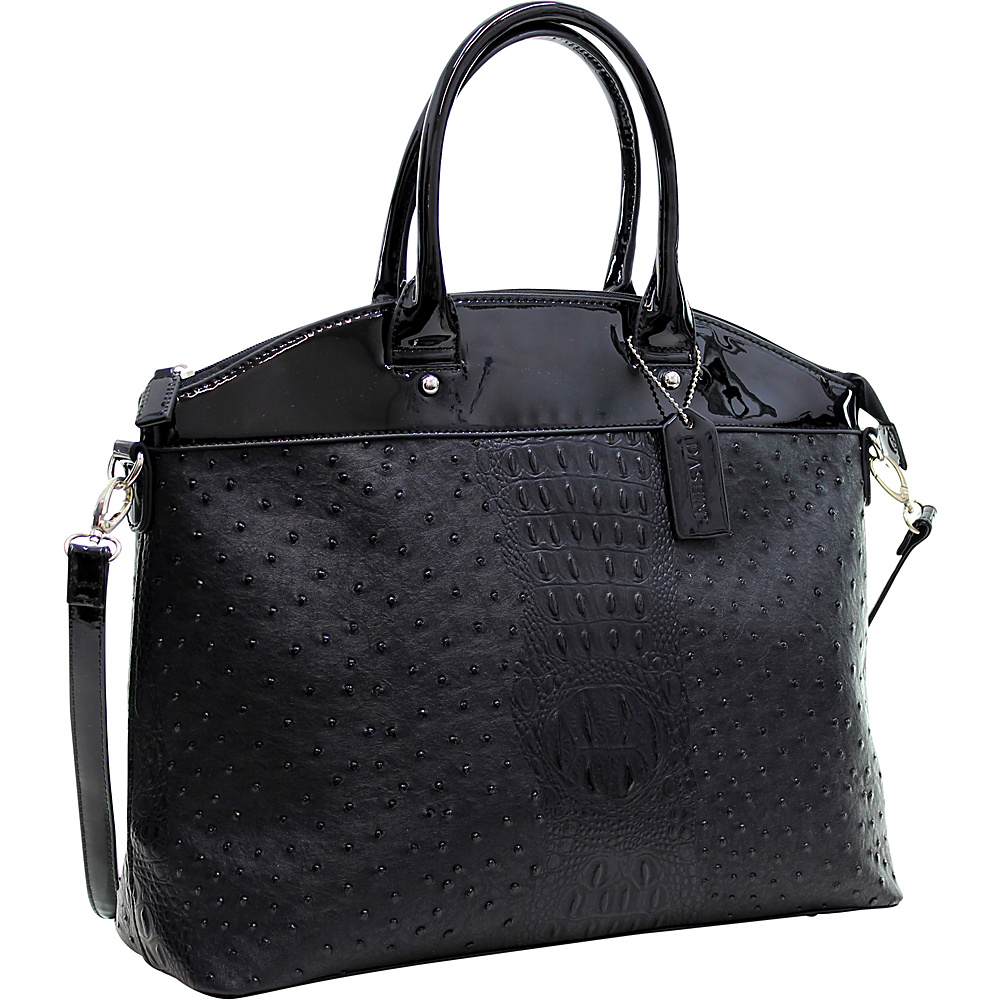Dasein Ostrich Faux Leather Large Satchel with Patent Trim Black - Dasein Manmade Handbags - Handbags, Manmade Handbags