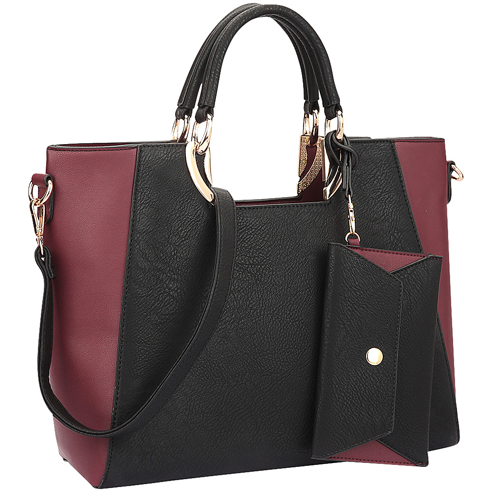 Dasein Square Handle Faux Leather Tote with Removable Shoulder Strap Black/Wine - Dasein Manmade Handbags - Handbags, Manmade Handbags
